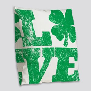 Love Clover Burlap Throw Pillow