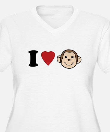 I Heart Monkeys Plus Size T-Shirt