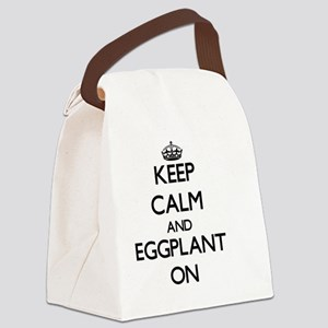 Keep Calm and EGGPLANT ON Canvas Lunch Bag