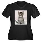 Cat Coat Women's Plus Size V-Neck Dark T-Shirt