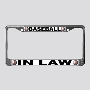 Baseball In-Law Chrome Steel License Plate Frame