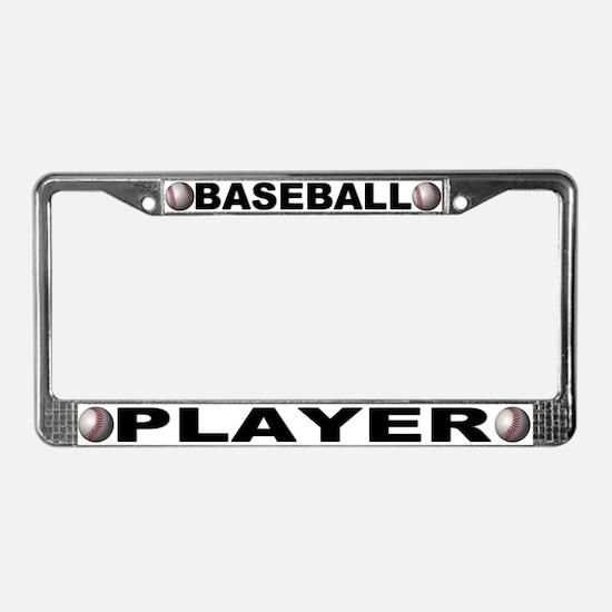 Baseball Player Chrome Steel License Plate Frame