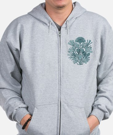 Fan Design - Diatomea by Ernst Haeckel Zip Hoodie
