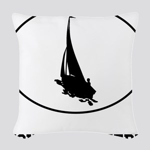 Sail Boat Silhouette Oval (Custom) Woven Throw Pil