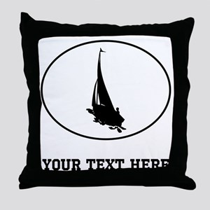 Sail Boat Silhouette Oval (Custom) Throw Pillow