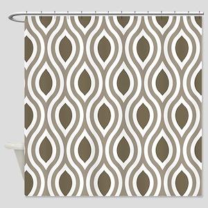 Ogee Pattern Stylish Tan Shower Curtain