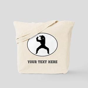Martial Artist Silhouette Oval (Custom) Tote Bag