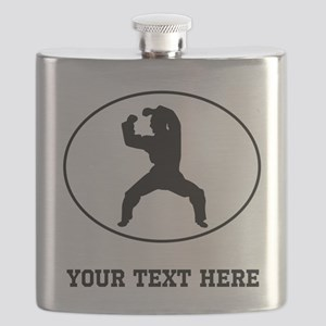 Martial Artist Silhouette Oval (Custom) Flask