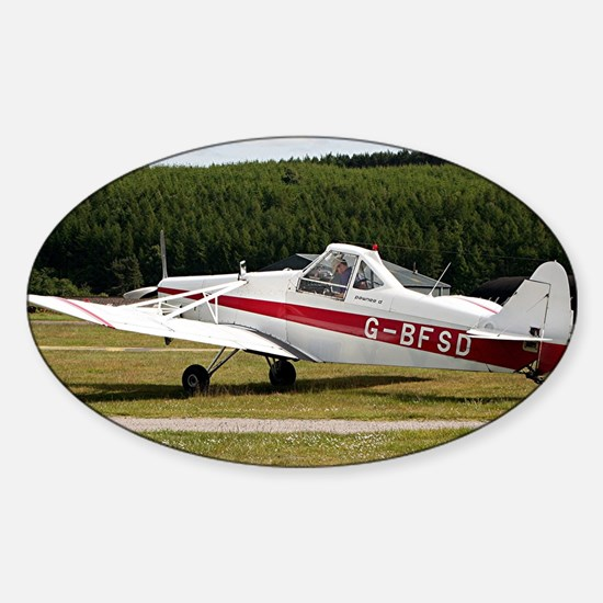 Low wing tricycle glider tow plane Sticker (Oval)