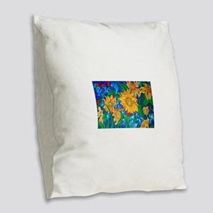 flower4 Burlap Throw Pillow