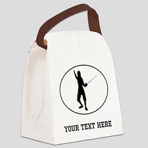 Fencer Silhouette Oval (Custom) Canvas Lunch Bag