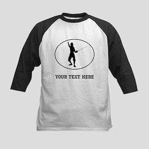 Fencer Silhouette Oval (Custom) Baseball Jersey