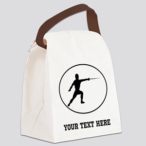 Fencer Silhouette Oval (Custom) Canvas Lunch Bag