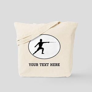 Fencer Silhouette Oval (Custom) Tote Bag
