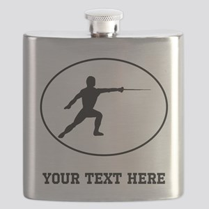 Fencer Silhouette Oval (Custom) Flask
