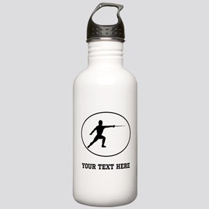 Fencer Silhouette Oval (Custom) Water Bottle
