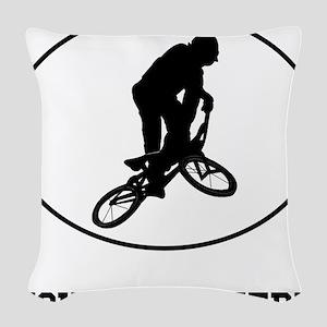 BMX Biker Silhouette Oval (Custom) Woven Throw Pil