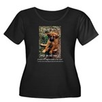 Dog Coat Women's Plus Size Scoop Neck Dark T-Shirt
