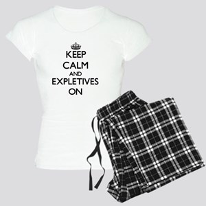 Keep Calm and EXPLETIVES ON Women's Light Pajamas