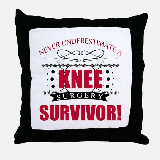 Knee Surgery Survivor Throw Pillow