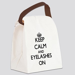 Keep Calm and EYELASHES ON Canvas Lunch Bag