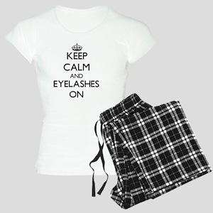 Keep Calm and EYELASHES ON Women's Light Pajamas