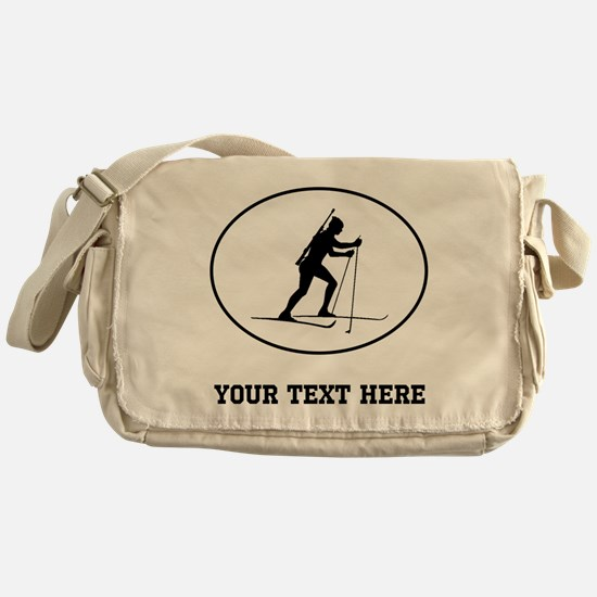 Biathlete Silhouette Oval (Custom) Messenger Bag