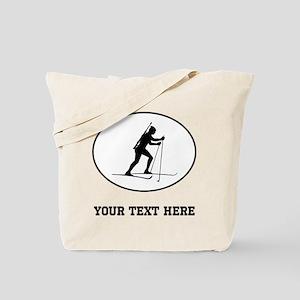 Biathlete Silhouette Oval (Custom) Tote Bag