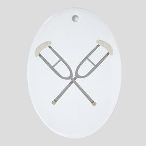 Crossed Crutches Ornament (Oval)