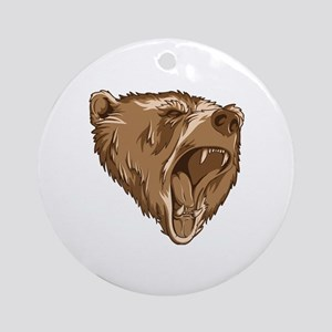 Roaring Bear Round Ornament