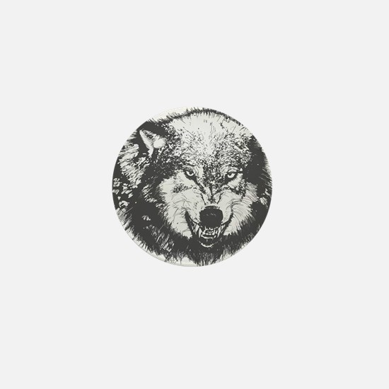 Snarling Wolf Mini Button