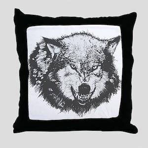 Snarling Wolf Throw Pillow