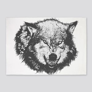 Snarling Wolf 5'x7'Area Rug