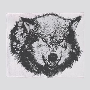Snarling Wolf Throw Blanket