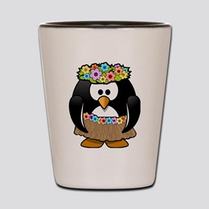 Hula Penguin Shot Glass
