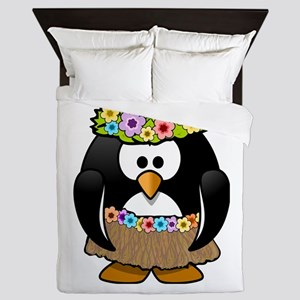 Hula Penguin Queen Duvet