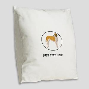 Custom Saint Bernard Burlap Throw Pillow