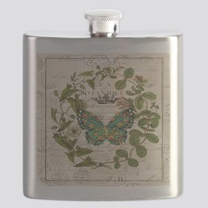 vintage botanical art butterfly Flask
