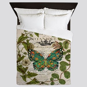 vintage botanical art butterfly Queen Duvet