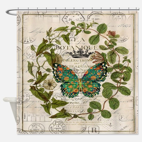 vintage botanical art butterfly Shower Curtain