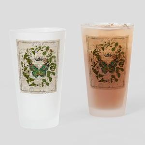 vintage botanical art butterfly Drinking Glass