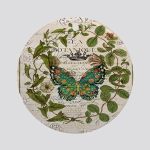 vintage botanical art butterfly Round Ornament