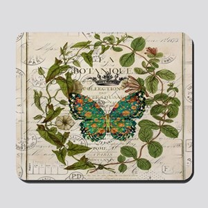 vintage botanical art butterfly Mousepad