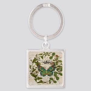 vintage botanical art butterfly Square Keychain