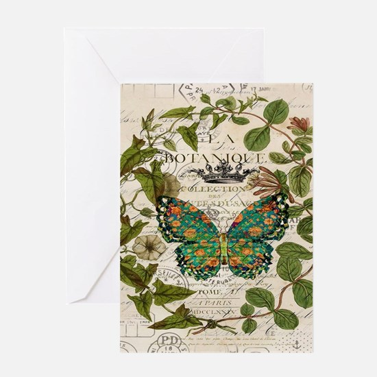 vintage botanical art butterfly Greeting Cards