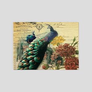 Paris vintage peacock 5'x7'Area Rug