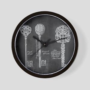 chalkboard french vintage keys  Wall Clock