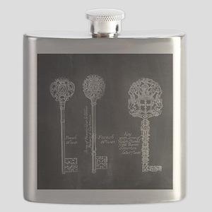 chalkboard french vintage keys  Flask