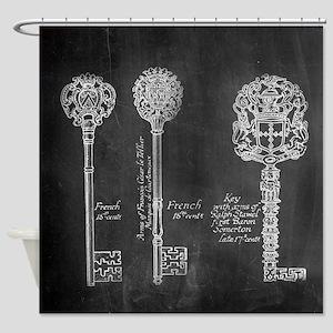 chalkboard french vintage keys  Shower Curtain