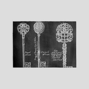 chalkboard french vintage keys 5'x7'Area Rug